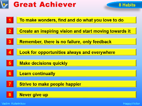 Habits of Successful People: 8 Habits of a Great Achiever by Vadim Kotelnikov